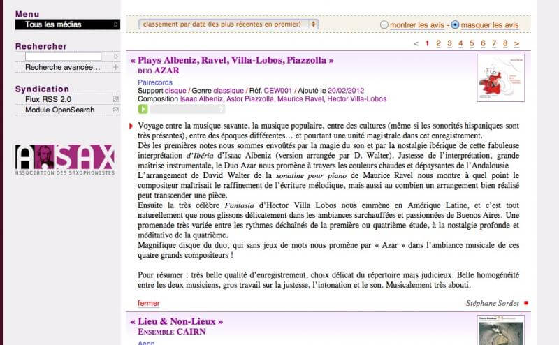 Full image of Extrait du site Association des Saxophonistes (A.SAX)