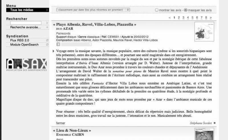 Preview of Extrait du site Association des Saxophonistes (A.SAX)